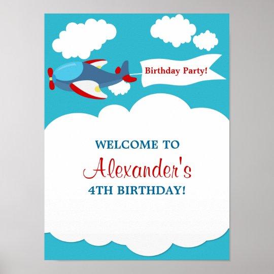 Cute Little Aeroplane Boy Birthday Poster