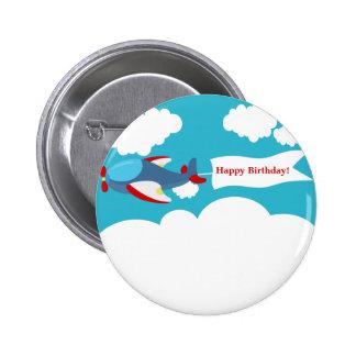 Cute Little Airplane Boy Birthday Button