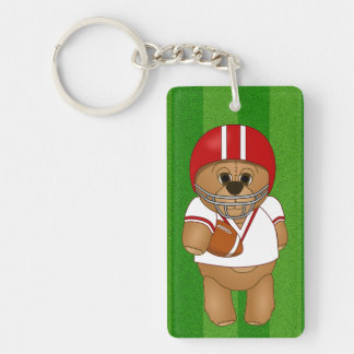 Cute Little American Football Player Teddy Bear Double-Sided Rectangular Acrylic Keychain