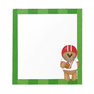Cute Little American Football Player Teddy Bear Notepad