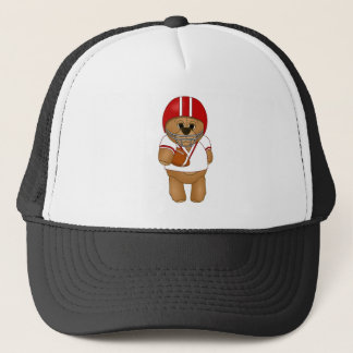 Cute Little American Football Player Teddy Bear Trucker Hat