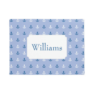 Cute Little Anchor Pattern | Add Your Name Doormat