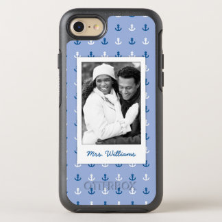Cute Little Anchor Pattern | Your Photo & Name OtterBox Symmetry iPhone 8/7 Case