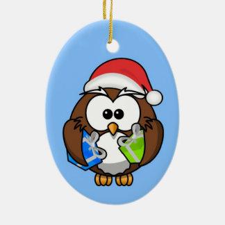 Cute little animated Christmas owl Ceramic Oval Decoration