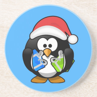 Cute little animated Christmas penguin Drink Coasters