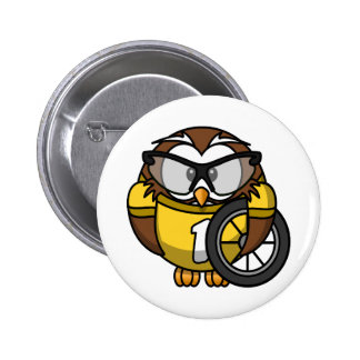 Cute little animated cyclist owl 6 cm round badge