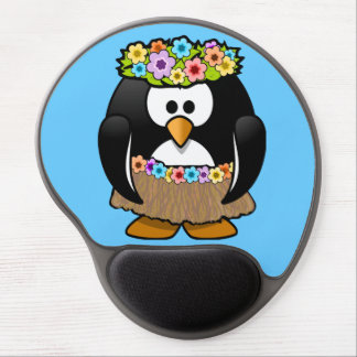 Cute little animated hula penguin gel mouse mat