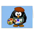 Cute little animated painter penguin card