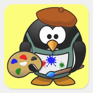 Cute little animated painter penguin square sticker