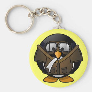 Cute little animated pilot penguin key ring