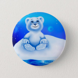 Cute, little animated polar bear 6 cm round badge