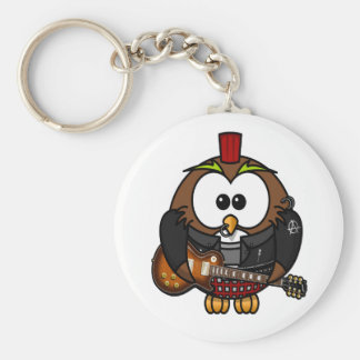 Cute little animated punk, rocker owl basic round button key ring