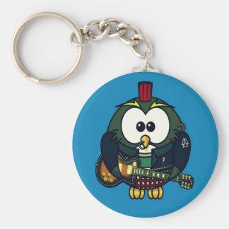 Cute little animated punk, rocker owl keychain