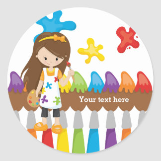 Cute Little Artist Classic Round Sticker