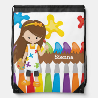 Cute Little Artist Drawstring Bag