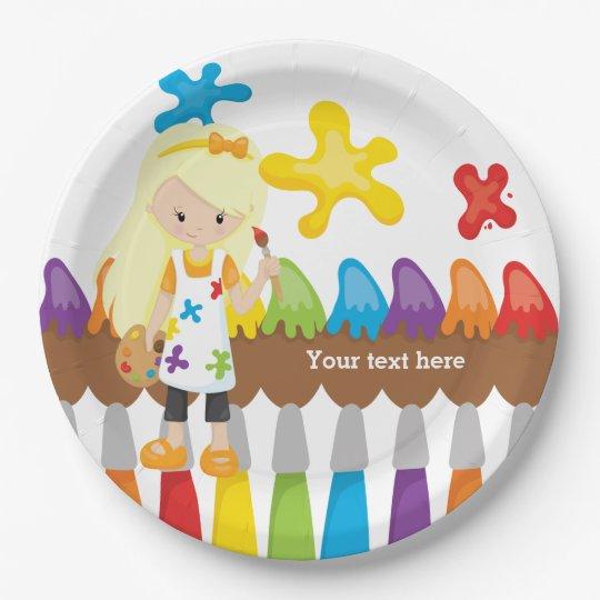 Cute Little Artist Paper Plate