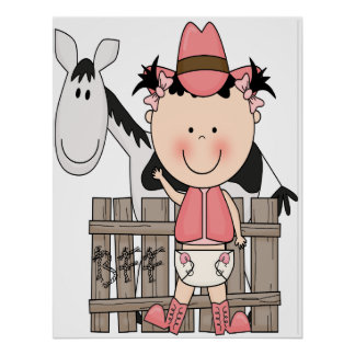 Cute Little Baby Cowgirl Poster Art Print