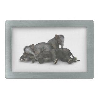 cute little baby elephants playing belt buckles