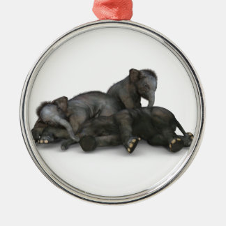 cute little baby elephants playing christmas ornament