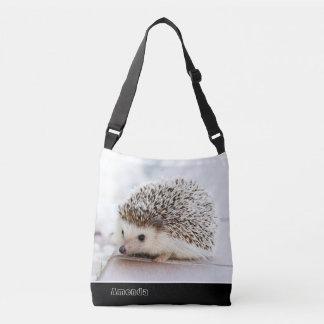 Cute little baby hedgehog monogram cross body tote