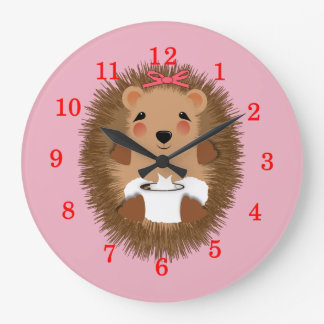 Cute Little Baby Hedgehog Whimsy Illustration Large Clock