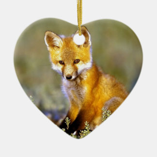 cute little baby red fox ceramic heart decoration