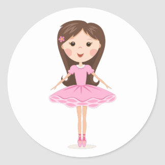 Cute little ballerina cartoon girl classic round sticker