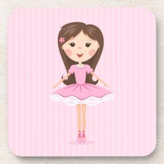 Cute little ballerina cartoon girl in pink tutu coaster