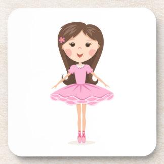 Cute little ballerina cartoon girl in pink tutu coasters