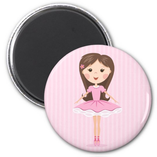 Cute little ballerina cartoon girl in pink tutu