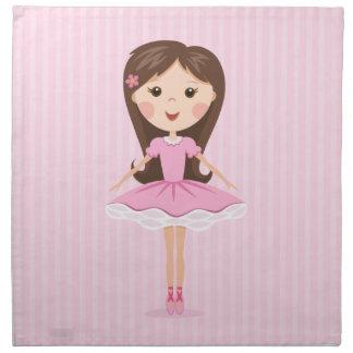 Cute little ballerina cartoon girl in pink tutu napkin