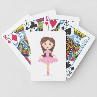 Cute little ballerina cartoon girl in pink tutu bicycle poker deck