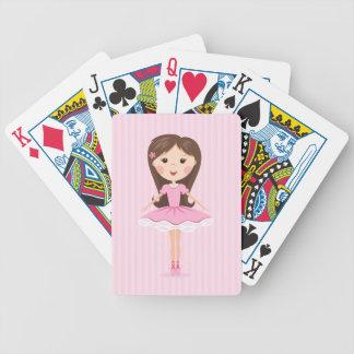 Cute little ballerina cartoon girl in pink tutu poker cards