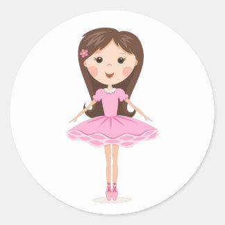Cute little ballerina cartoon girl classic round sticker