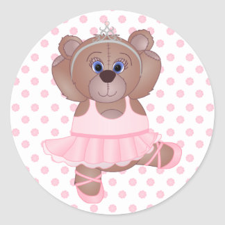 Cute Little Ballerina Cartoon Teddy Bear in Pink Classic Round Sticker