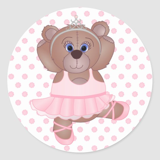 Cute Little Ballerina Cartoon Teddy Bear in Pink