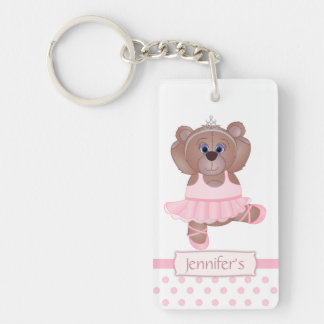 Cute Little Ballerina Cartoon Teddy Bear in Pink Double-Sided Rectangular Acrylic Key Ring