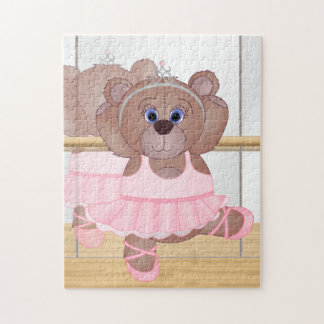 Cute Little Ballerina Cartoon Teddy Bear in Pink Jigsaw Puzzle