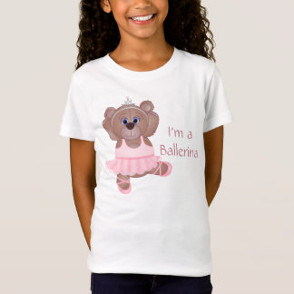 Cute Little Ballerina Cartoon Teddy Bear in Pink T-Shirt