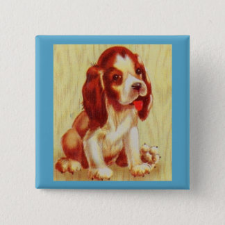 cute little beagle puppy 15 cm square badge