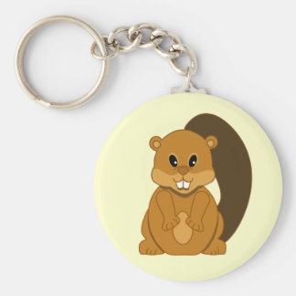 Cute Little Beaver Cartoon Animal Key Ring