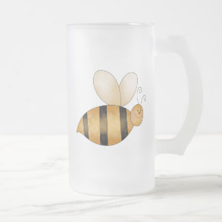 Cute Little Bee Frosted Glass Mug