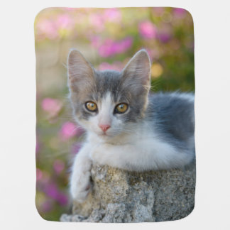 Cute Little Bicolor Kitten Fluffy Photo Cat Lovers Baby Blanket