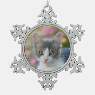 Cute Little Bicolor Kitten Fluffy Photo Cat Lovers Snowflake Pewter Christmas Ornament