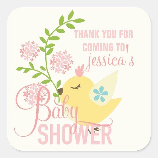 Cute Little Bird Flowers Spring Girl Baby Shower