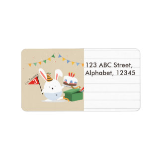 Cute little birthday hat bunny lined note label