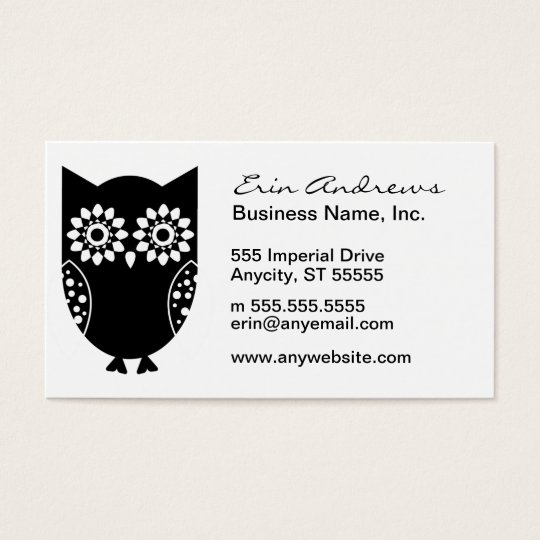 Cute Little Black Owl Business Card