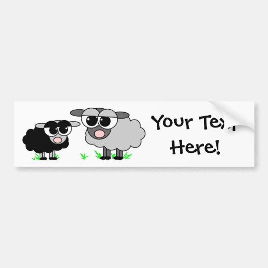 Cute Little Black Sheep and Big Grey Sheep
