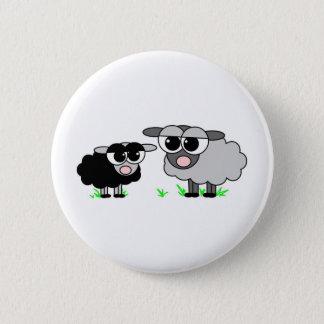 Cute Little Black Sheep and BigGray Sheep 6 Cm Round Badge