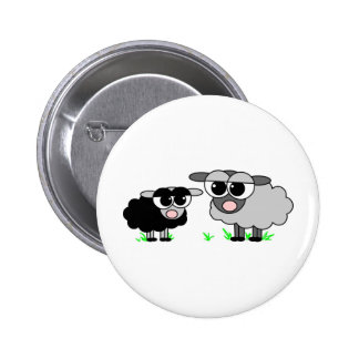 Cute Little Black Sheep and BigGray Sheep 6 Cm Round Badge